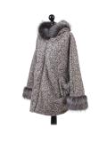Italian Faux Fur Cape And Sleeves Hooded Lagenlook Jacket-Beige side