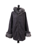 Italian Faux Fur Cape And Sleeves Hooded Lagenlook Jacket-Charcoal