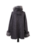 Italian Faux Fur Cape And Sleeves Hooded Lagenlook Jacket-Charcoal back