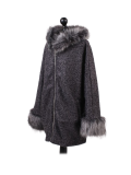 Italian Faux Fur Cape And Sleeves Hooded Lagenlook Jacket-Charcoal side