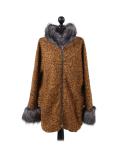 Italian Faux Fur Cape And Sleeves Hooded Lagenlook Jacket-Mustard