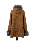 Italian Faux Fur Cape And Sleeves Hooded Lagenlook Jacket-Mustard back