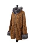 Italian Faux Fur Cape And Sleeves Hooded Lagenlook Jacket-Mustard side