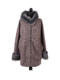 Italian Faux Fur Cape And Sleeves Hooded Lagenlook Jacket-Pink