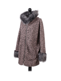 Italian Faux Fur Cape And Sleeves Hooded Lagenlook Jacket-Pink side
