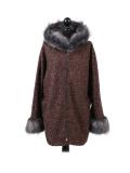 Italian Faux Fur Cape And Sleeves Hooded Lagenlook Jacket-Rust