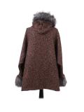 Italian Faux Fur Cape And Sleeves Hooded Lagenlook Jacket-Rust back