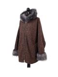 Italian Faux Fur Cape And Sleeves Hooded Lagenlook Jacket-Rust side