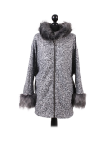 Italian Faux Fur Cape And Sleeves Hooded Lagenlook Jacket-Silver
