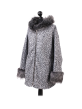 Italian Faux Fur Cape And Sleeves Hooded Lagenlook Jacket-Silver side