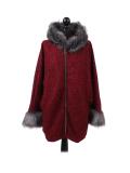 Italian Faux Fur Cape And Sleeves Hooded Lagenlook Jacket-Wine