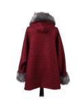 Italian Faux Fur Cape And Sleeves Hooded Lagenlook Jacket-wine back