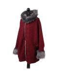 Italian Faux Fur Cape And Sleeves Hooded Lagenlook Jacket-WIne side