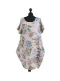 Italian Flora Print Side Pockets Cocoon Linen Lagenlook Dress-beige