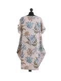 Italian Flora Print Side Pockets Cocoon Linen Lagenlook Dress-beige back