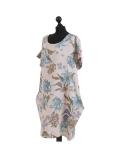 Italian Flora Print Side Pockets Cocoon Linen Lagenlook Dress-beige side