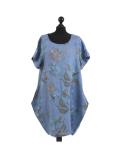 Italian Flora Print Side Pockets Cocoon Linen Lagenlook Dress-Denim