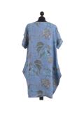 Italian Flora Print Side Pockets Cocoon Linen Lagenlook Dress-Denim back