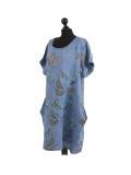 Italian Flora Print Side Pockets Cocoon Linen Lagenlook Dress-Denim side