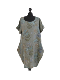 Italian Flora Print Side Pockets Cocoon Linen Lagenlook Dress-Khaki