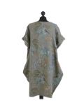Italian Flora Print Side Pockets Cocoon Linen Lagenlook Dress-Khaki back