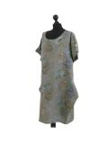Italian Flora Print Side Pockets Cocoon Linen Lagenlook Dress-Khaki side