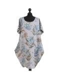 Italian Flora Print Side Pockets Cocoon Linen Lagenlook Dress-Silver