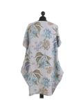 Italian Flora Print Side Pockets Cocoon Linen Lagenlook Dress-Silver back