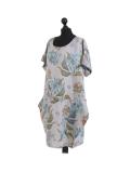 Italian Flora Print Side Pockets Cocoon Linen Lagenlook Dress-Silver side