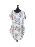 Italian Flora Print Side Pockets Cocoon Linen Lagenlook Dress-White