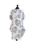 Italian Flora Print Side Pockets Cocoon Linen Lagenlook Dress-White back