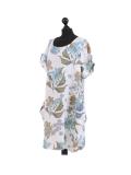 Italian Flora Print Side Pockets Cocoon Linen Lagenlook Dress-White side