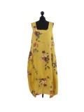 Italian Floral Print Sleeveless Linen Lagenlook Dress-Mustard