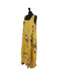 Italian Floral Print Sleeveless Linen Lagenlook Dress-Mustard side