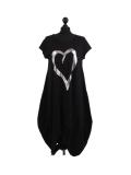 Italian Foil Heart Print Dipped Hem Cotton Tunic Slouch Dress-Black