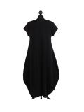 Italian Foil Heart Print Dipped Hem Cotton Tunic Slouch Dress-Black back