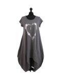 Italian Foil Heart Print Dipped Hem Cotton Tunic Slouch Dress-Charcoal
