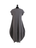 Italian Foil Heart Print Dipped Hem Cotton Tunic Slouch Dress-Charcoal back