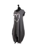 Italian Foil Heart Print Dipped Hem Cotton Tunic Slouch Dress-Charcoal side