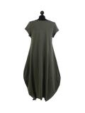 Italian Foil Heart Print Dipped Hem Cotton Tunic Slouch Dress-Khaki back