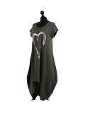 Italian Foil Heart Print Dipped Hem Cotton Tunic Slouch Dress-Khaki side