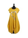 Italian Foil Heart Print Dipped Hem Cotton Tunic Slouch Dress-Mustard