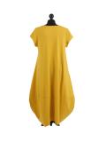 Italian Foil Heart Print Dipped Hem Cotton Tunic Slouch Dress-Mustard back