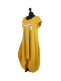 Italian Foil Heart Print Dipped Hem Cotton Tunic Slouch Dress-Mustard side