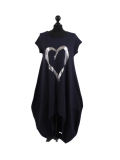 Italian Foil Heart Print Dipped Hem Cotton Tunic Slouch Dress-Navy