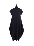 Italian Foil Heart Print Dipped Hem Cotton Tunic Slouch Dress-Navy back