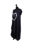 Italian Foil Heart Print Dipped Hem Cotton Tunic Slouch Dress-Navy side