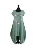 Italian Foil Heart Print Dipped Hem Cotton Tunic Slouch Dress-Ocean blue