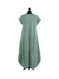 Italian Foil Heart Print Dipped Hem Cotton Tunic Slouch Dress-Ocean blue back