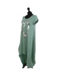 Italian Foil Heart Print Dipped Hem Cotton Tunic Slouch Dress-Ocean blue side